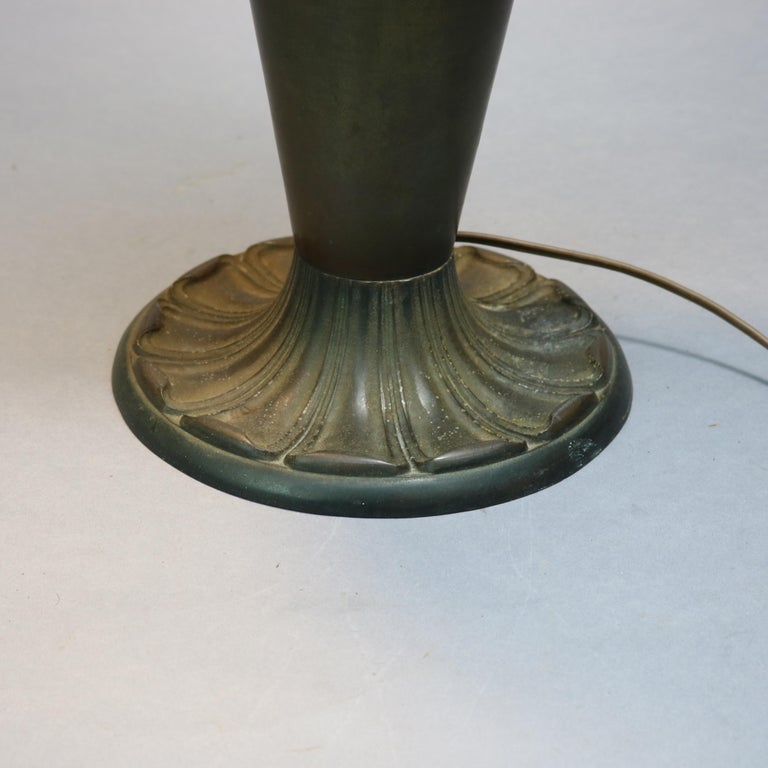 Antique Arts & Crafts Bradley & Hubbard School Slag Glass Table Lamp, c 1920 In Good Condition For Sale In Big Flats, NY