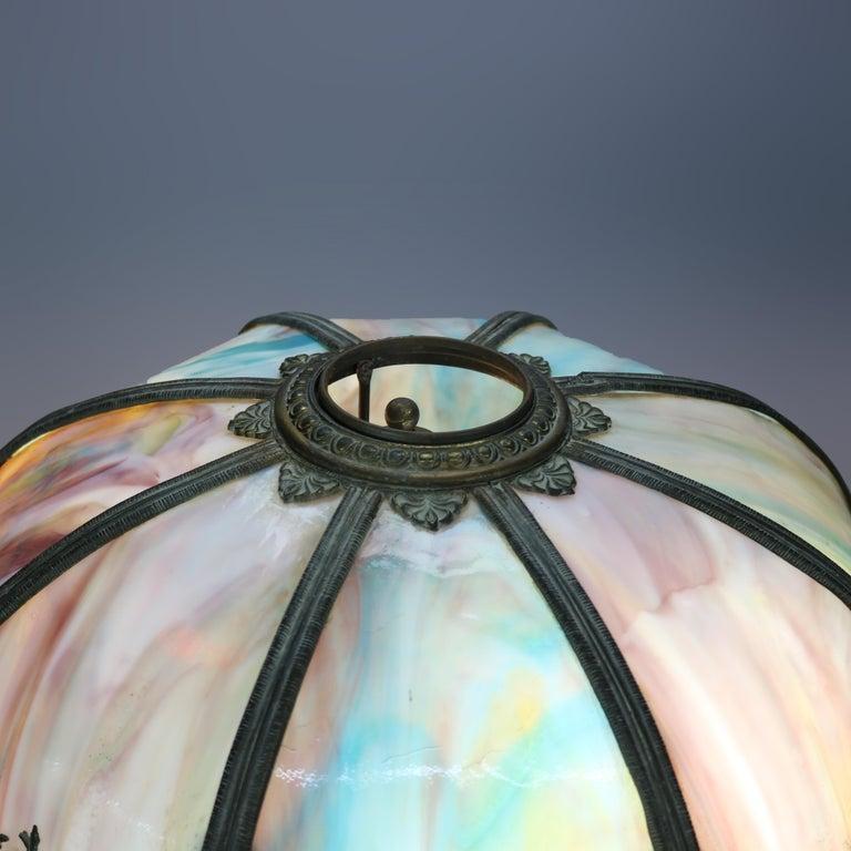 20th Century Antique Arts & Crafts Bradley & Hubbard School Slag Glass Table Lamp, c 1920 For Sale