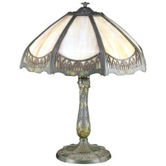Antique Arts & Crafts Bradley & Hubbard School Slag Glass Table Lamp, circa 1910