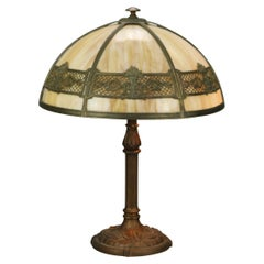 Antique Arts & Crafts Bradley & Hubbard School Slag Table Lamp, c1910