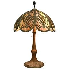 Arts & Crafts Bradley & Hubbard Slag Glass Oval Panel Table Lamp, circa 1920