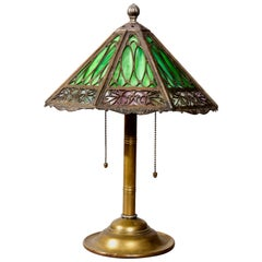 Antique Arts & Crafts Bradly & Hubbard Slag Glass Table Lamp, circa 1920