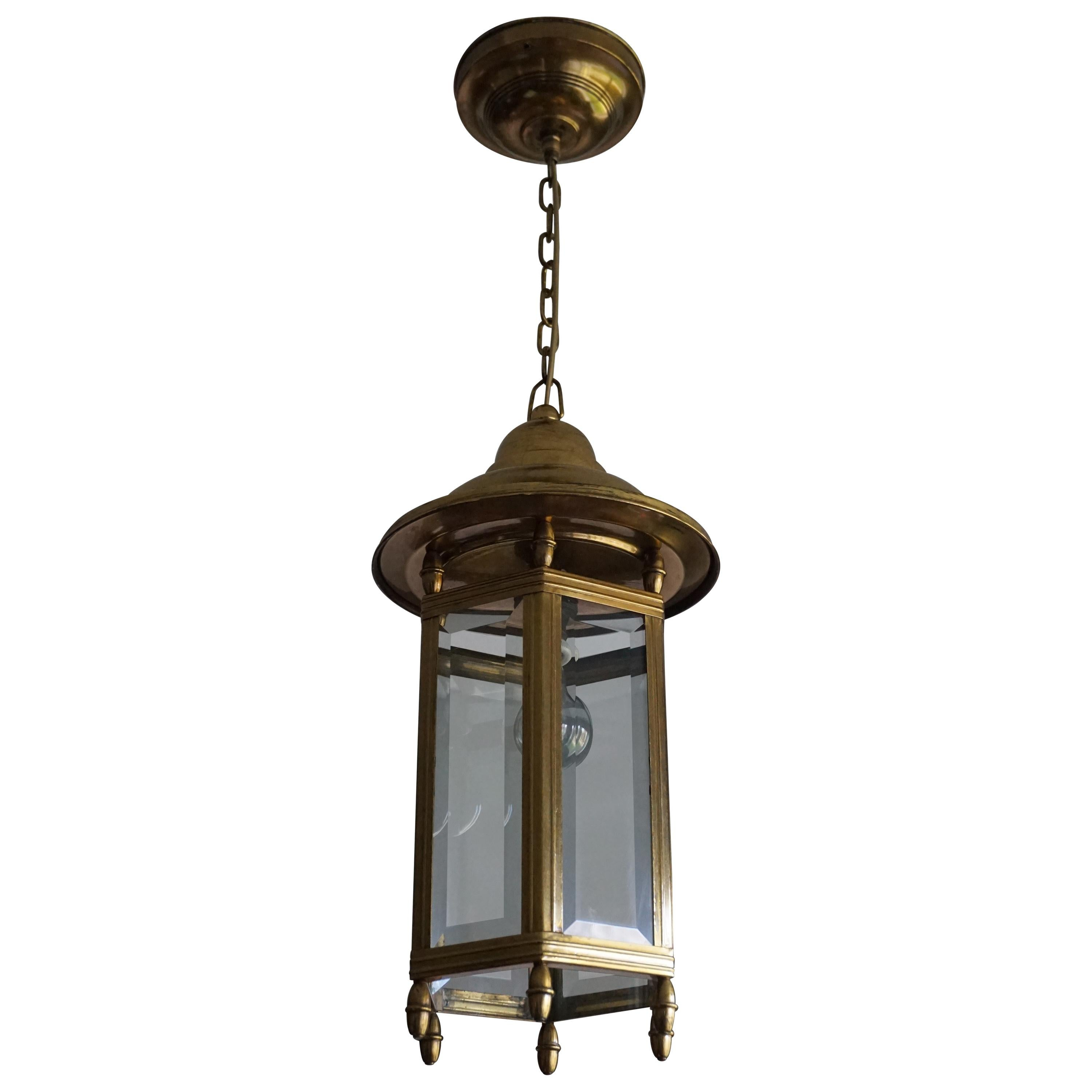 Antique Arts & Crafts Brass and Beveled Glass Entry Hall Pendant / Light Fixture
