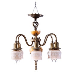 Antique Arts & Crafts Chandelier with Etched Shades, Brass & Glass, c1930
