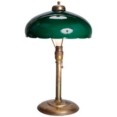 Antique Arts & Crafts Emeralite Green Cased Glass & Brass Table Lamp, circa 1910