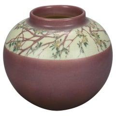 Antique Arts & Crafts ET Hurley, Rookwood Floral Banded Pottery Chunk Vase 1914