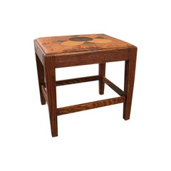 Antique Arts & Crafts Footstool English Oak Leather, after Cotswolds, circa 1910