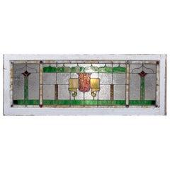 Antique Arts & Crafts Frank Lloyd Wright School Leaded Glass Window, circa 1910