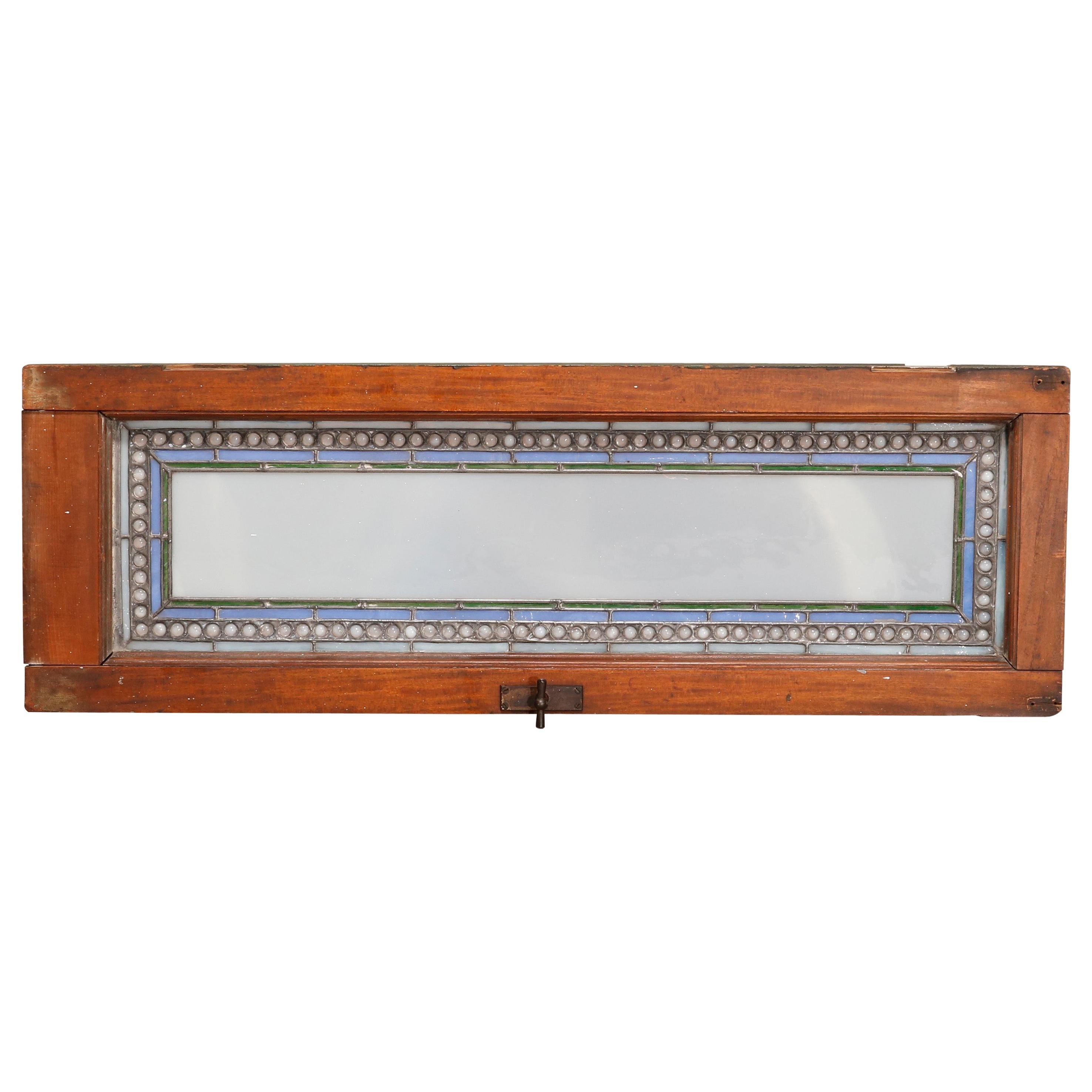 Antique Arts & Crafts Frank Lloyd Wright Style Leaded Glass Long Window c1910