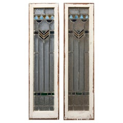 Antique Arts & Crafts Frank Lloyd Wright Style Leaded Stained Glass Windows 1910