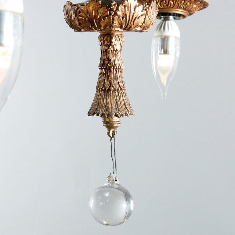 Antique Arts & Crafts Gilt Bronze & Quezal Art Glass Chandelier, Circa 1920 For Sale 3