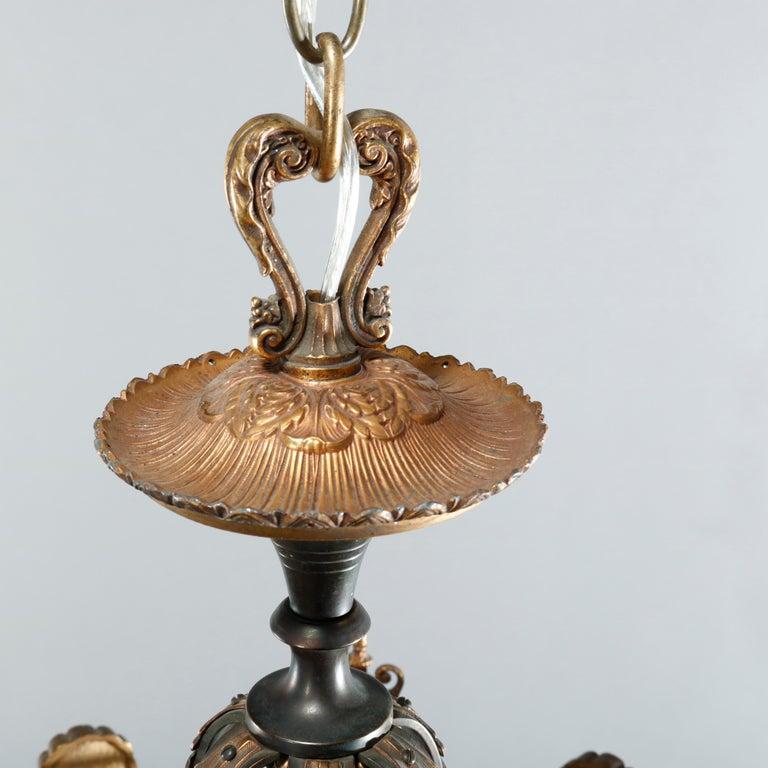 Antique Arts & Crafts Gilt Bronze & Quezal Art Glass Chandelier, Circa 1920 For Sale 5