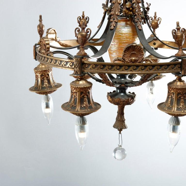 Arts and Crafts Antique Arts & Crafts Gilt Bronze & Quezal Art Glass Chandelier, Circa 1920 For Sale