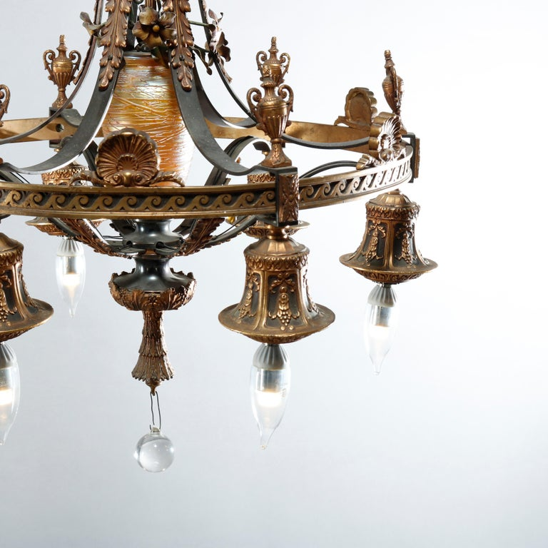 North American Antique Arts & Crafts Gilt Bronze & Quezal Art Glass Chandelier, Circa 1920 For Sale
