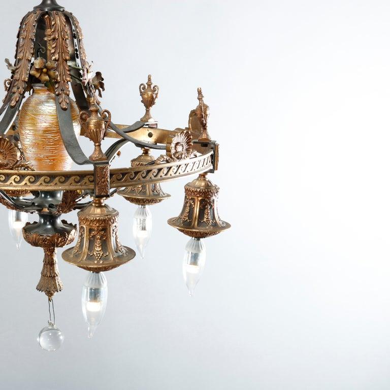 Cast Antique Arts & Crafts Gilt Bronze & Quezal Art Glass Chandelier, Circa 1920 For Sale