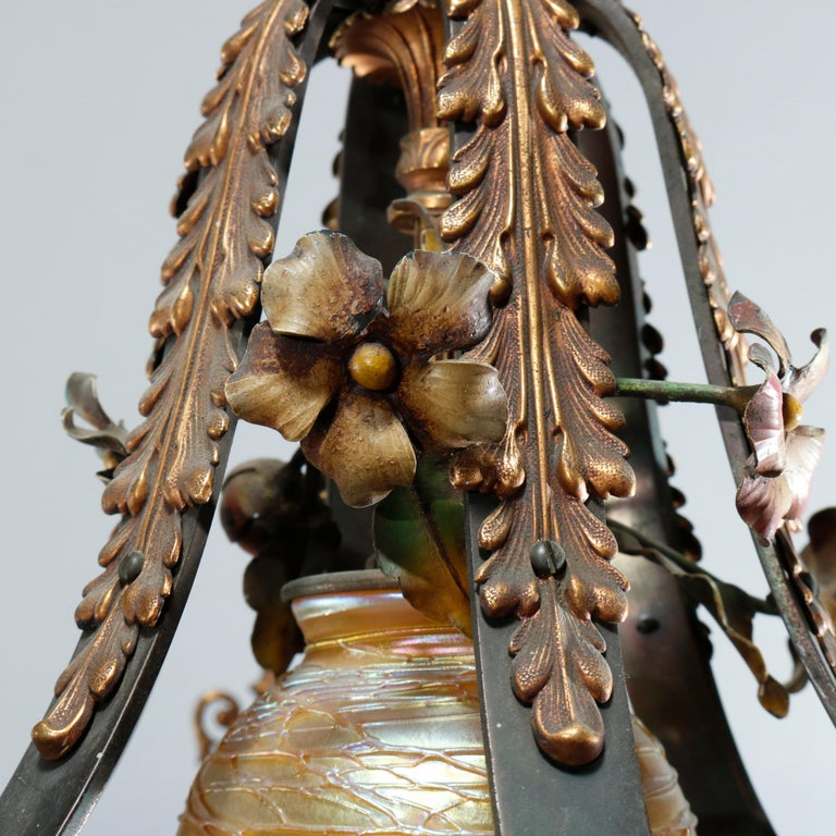 Antique Arts & Crafts Gilt Bronze & Quezal Art Glass Chandelier, Circa 1920 In Good Condition For Sale In Big Flats, NY