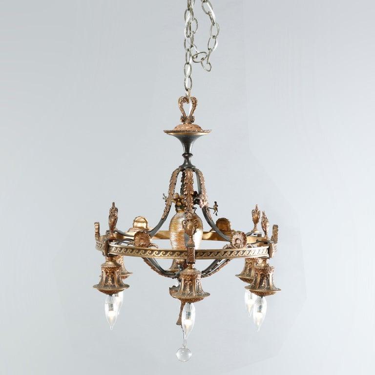 20th Century Antique Arts & Crafts Gilt Bronze & Quezal Art Glass Chandelier, Circa 1920 For Sale