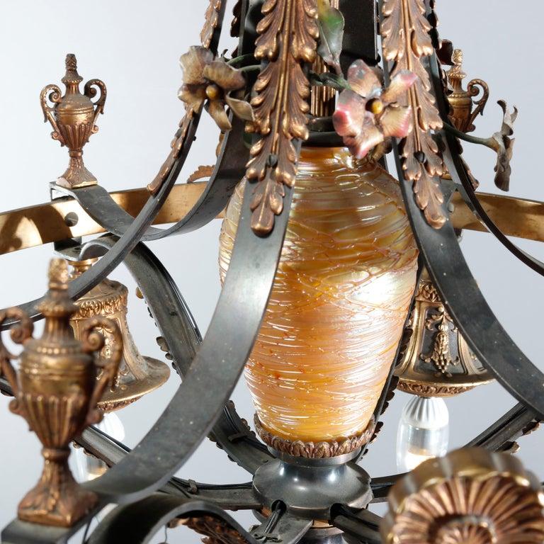 Antique Arts & Crafts Gilt Bronze & Quezal Art Glass Chandelier, Circa 1920 For Sale 1