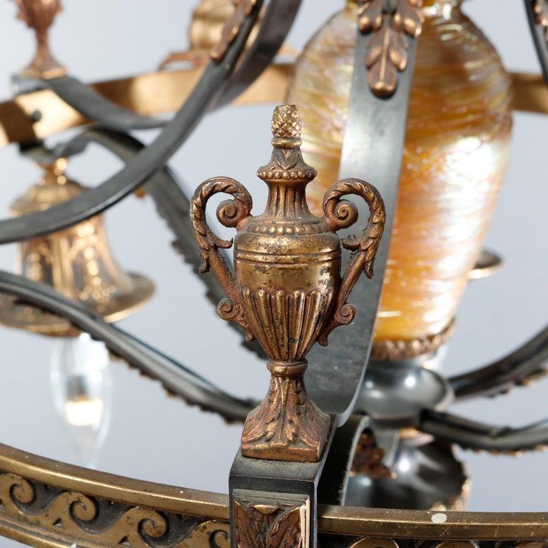 Antique Arts & Crafts Gilt Bronze & Quezal Art Glass Chandelier, Circa 1920 For Sale 2