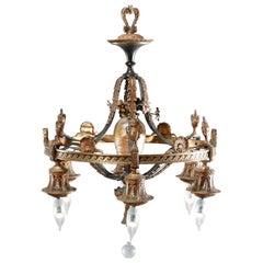 Antique Arts & Crafts Gilt Bronze & Quezal Art Glass Chandelier, Circa 1920