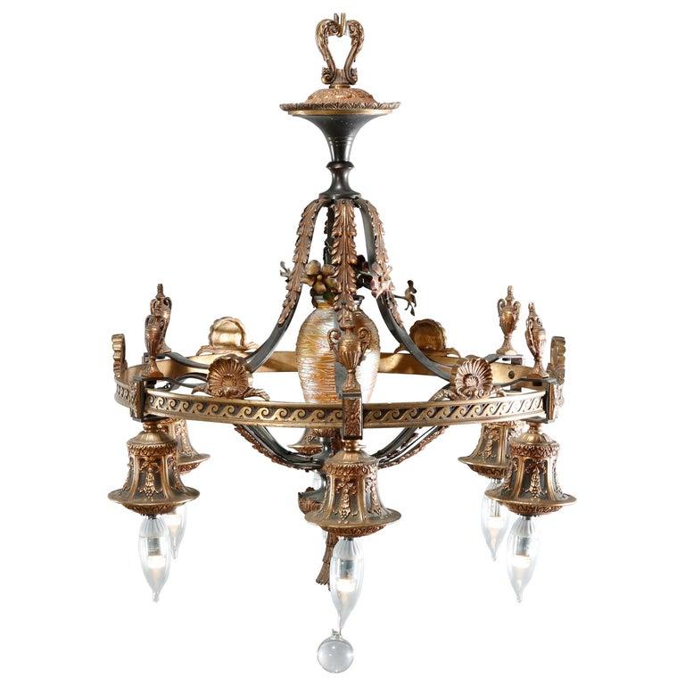 Antique Arts & Crafts Gilt Bronze & Quezal Art Glass Chandelier, Circa 1920 For Sale