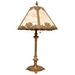 Antique Arts & Crafts Gilt Metal B & H School Slag Glass Table Lamp, circa 1920