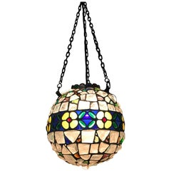 Antique Arts & Crafts Glass Stones and Lead Pendant Tiffany Style Ceiling Lamp