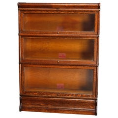 Antique Arts & Crafts Globe Wernicke 3-Stack Barrister Oak Bookcase, circa 1910