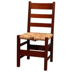 Arts & Crafts Gustav Stickley Mission Oak Ladder Back Side Chair, circa 1910