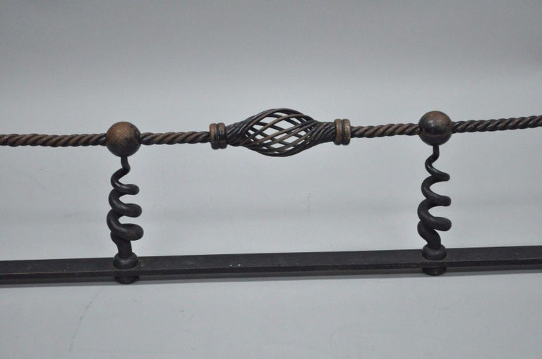 Arts and Crafts Antique Arts & Crafts Hand-Wrought Iron Spiral Twist Fireplace Mantle Fender For Sale