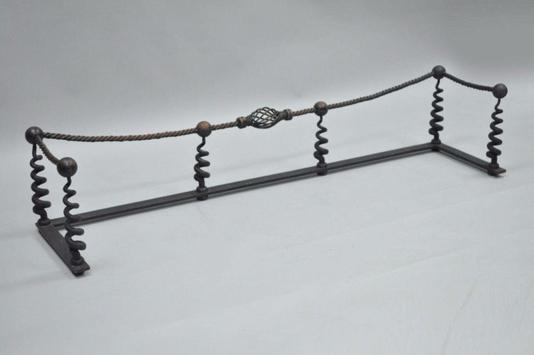 American Antique Arts & Crafts Hand-Wrought Iron Spiral Twist Fireplace Mantle Fender For Sale