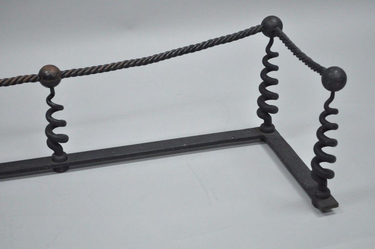 19th Century Antique Arts & Crafts Hand-Wrought Iron Spiral Twist Fireplace Mantle Fender For Sale