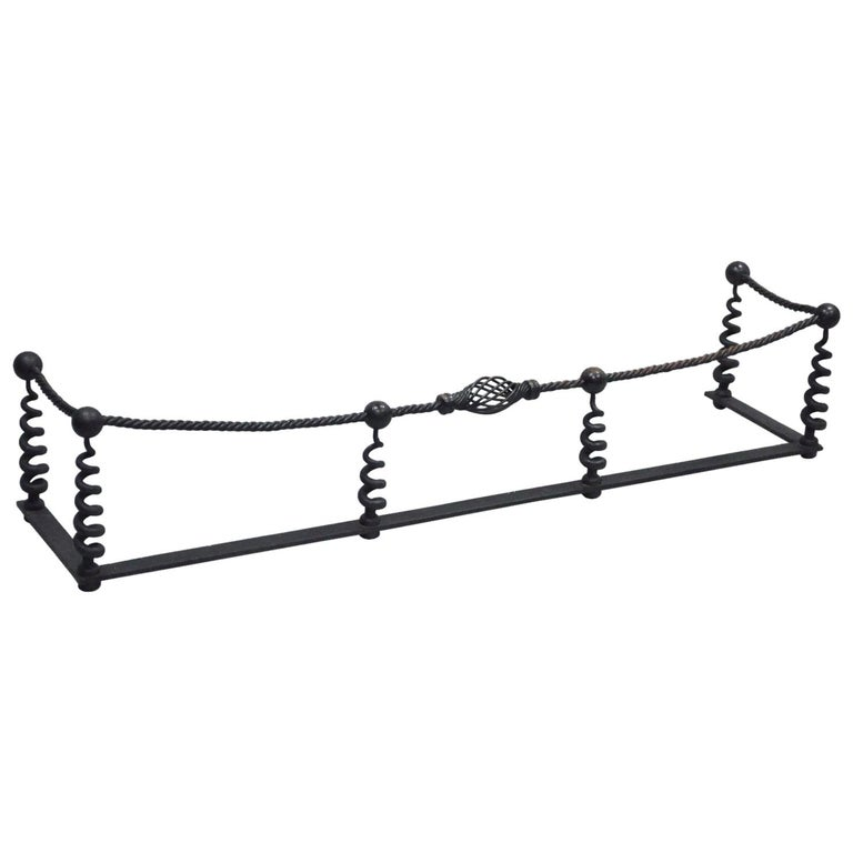 Antique Arts & Crafts Hand-Wrought Iron Spiral Twist Fireplace Mantle Fender For Sale