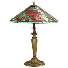 Antique Arts & Crafts Handel School Mosaic Leaded Glass Table Lamp, Circa 1920