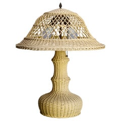 Antique Arts & Crafts Heywood Wakefield School Wicker Table Lamp, circa 1920