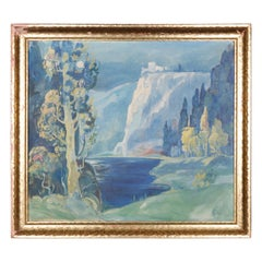 Antique Arts & Crafts Impressionist Oil on Canvas Landscape Painting, circa 1930