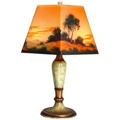 Antique Arts & Crafts Jefferson Reverse Painted Lamp, circa 1920