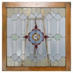 Antique Arts & Crafts Jeweled & Leaded Glass Window, Circa 1910