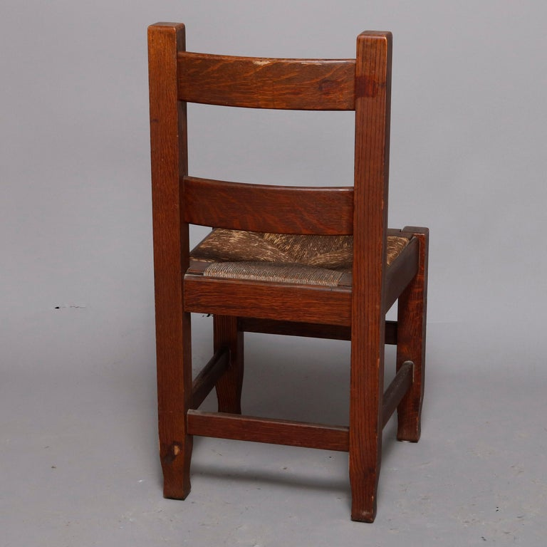 Arts and Crafts Antique Arts & Crafts Joseph McHugh Mission Oak Rush Seat Desk Chair, circa 1920
