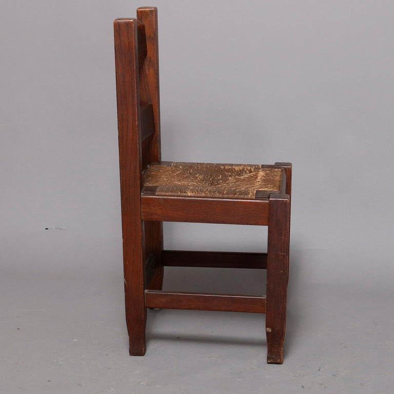 American Antique Arts & Crafts Joseph McHugh Mission Oak Rush Seat Desk Chair, circa 1920