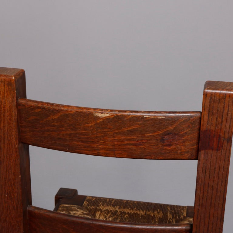 19th Century Antique Arts & Crafts Joseph McHugh Mission Oak Rush Seat Desk Chair, circa 1920