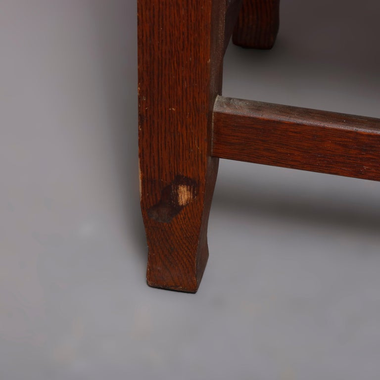Antique Arts & Crafts Joseph McHugh Mission Oak Rush Seat Desk Chair, circa 1920 1