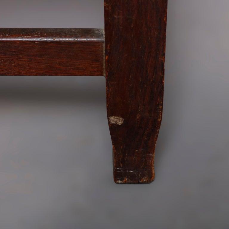 Antique Arts & Crafts Joseph McHugh Mission Oak Rush Seat Desk Chair, circa 1920 2