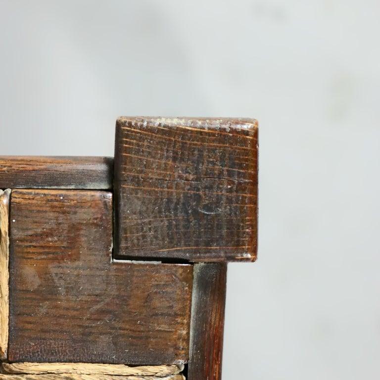Antique Arts & Crafts Joseph McHugh Mission Oak Rush Seat Desk Chair, circa 1920 3
