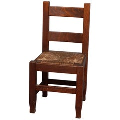 Antique Arts & Crafts Joseph McHugh Mission Oak Rush Seat Desk Chair, circa 1920