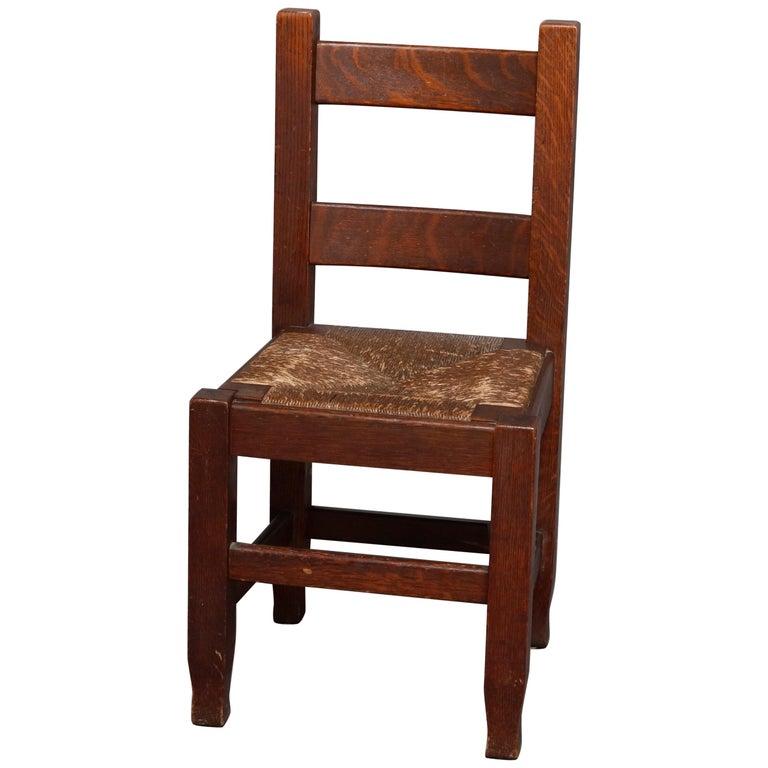 Antique Arts & Crafts Joseph McHugh Mission Oak Rush Seat Desk Chair, circa 1920