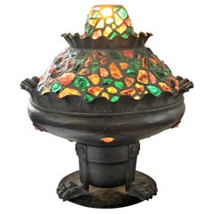 Antique Arts & Crafts Large Copper Indoor Fountain Table Lamp or Accent Light