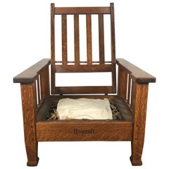 Antique Arts & Crafts Large Morris Chair by Roycroft