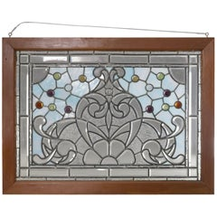 Antique Arts & Crafts Leaded Jewel, Slag & Beveled Glass Window Panel circa 1910