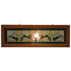 Antique Arts Crafts Leaded & Jeweled Glass Window, Circa 1900